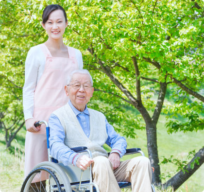 portrait of an asian caregiver and senior