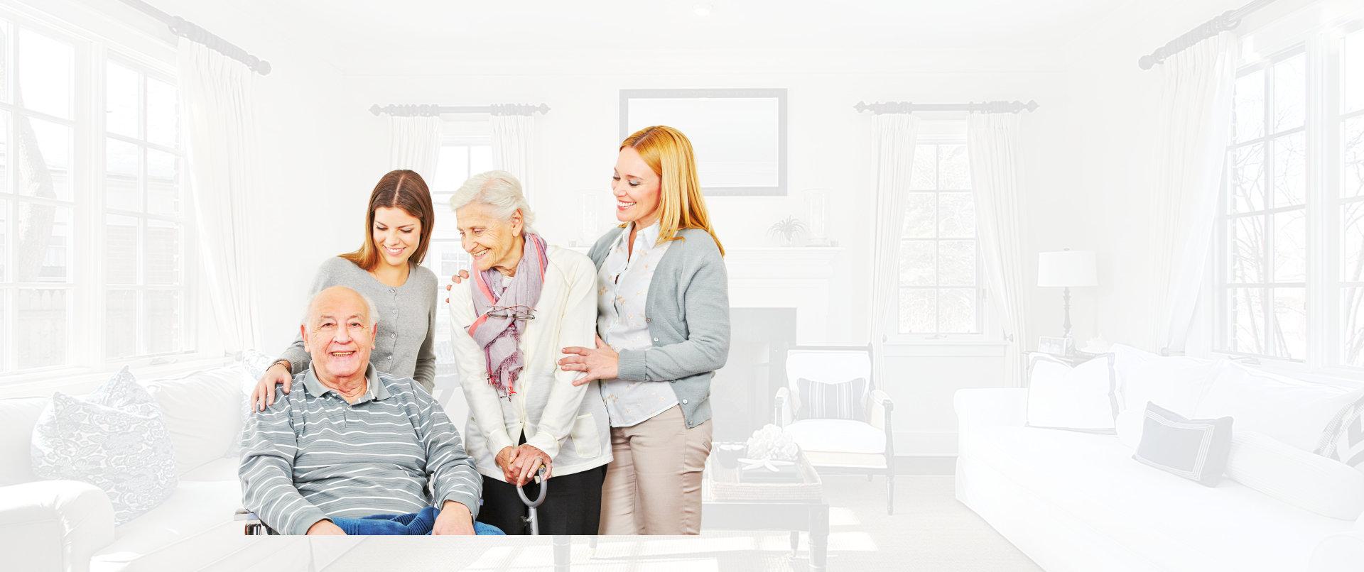 portrait of seniors and caregivers