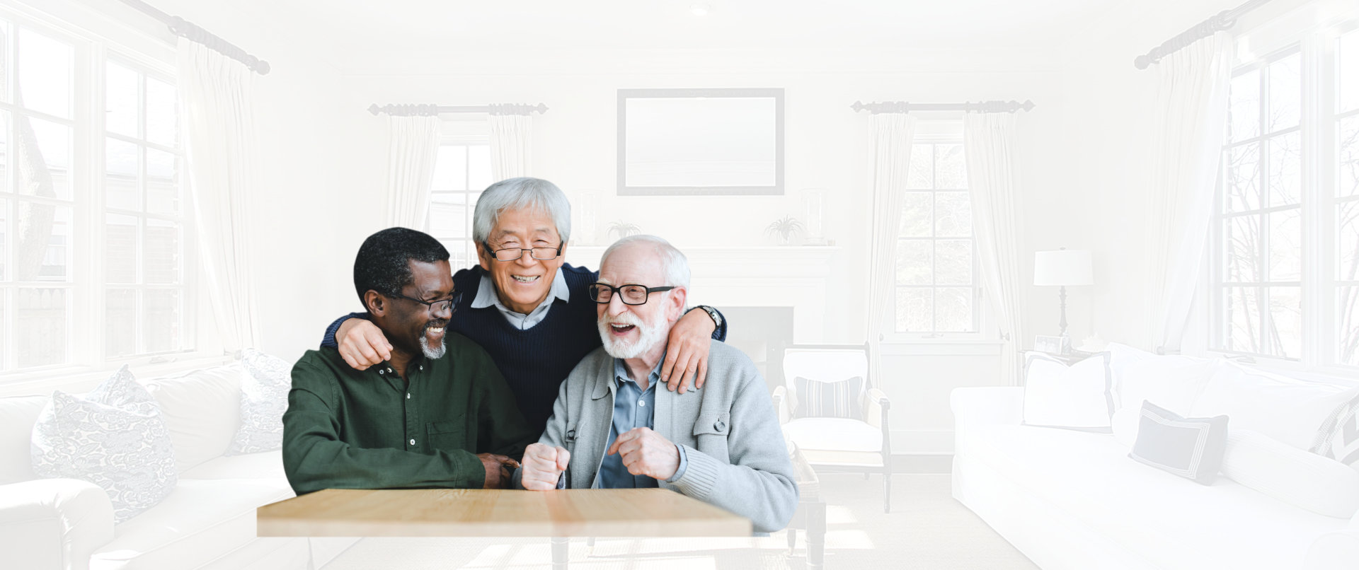 portrait of three seniors laughing together