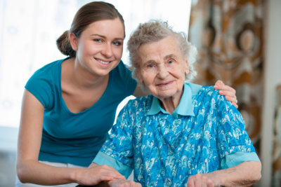 senior woman with a caregiver