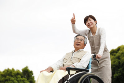 portrait of asian caregiver and senior